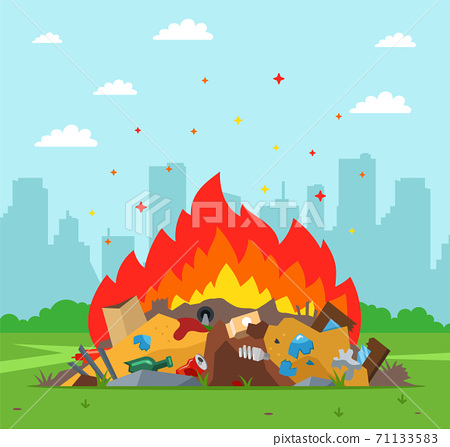 garbage dump is burning on the background of the city. improper waste disposal. 71133583