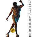 young african soccer player man isolated white background silhouette shadow 71136357