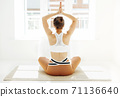 Back view of unrecognizable female in sportswear sitting with crossed legs and mudra hands on mat and doing yoga while practicing mindfulness 71136640