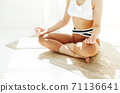 Back view of unrecognizable female in sportswear sitting with crossed legs and mudra hands on mat and doing yoga while practicing mindfulness 71136641