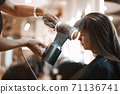 Women discussing beauty products in salon 71136741