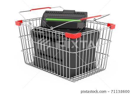 Printer laser MFP inside shopping basket, 3D rendering 71138600