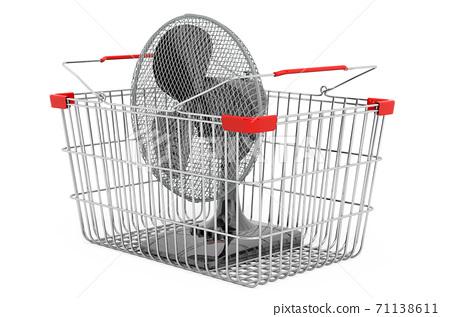 Table fan inside shopping basket, 3D rendering 71138611