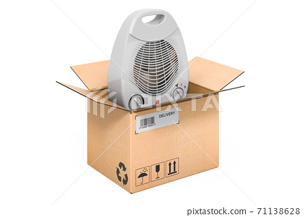Fan heater inside cardboard box, delivery concept. 3D rendering 71138628