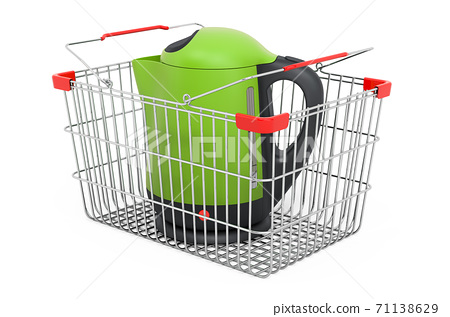 Electric tea kettle inside shopping basket, 3D rendering 71138629