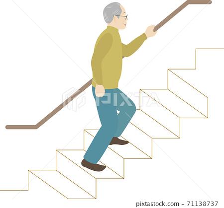Elderly man climbing stairs 71138737