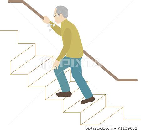 Elderly man climbing stairs 71139032