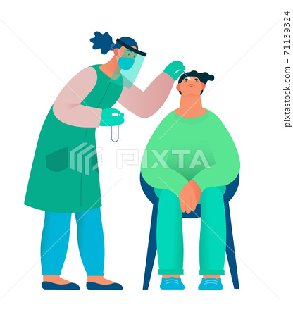 Healthcare worker with protective equipment performs coronavirus swab on Caucasian man. 71139324