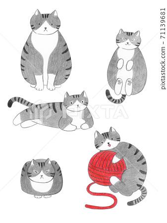 회색 줄무늬 고양이 색연필 그림 71139681