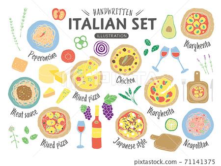 손으로 그린 이탈리아 요리 일러스트 세트 (선 없음) 71141375