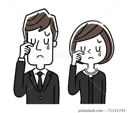 Vector Illustration Material: Men and Women in Mourning, Crying 71141745