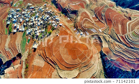 Aerial View of Dongchuan Red Land 71142101