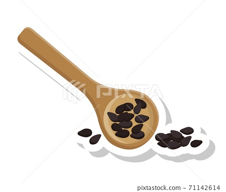 黑芝麻跟木頭的湯匙隔離在白色背景 71142614