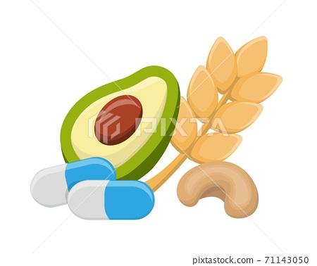 鎂跟酪梨小麥保健食品的卡通漫畫插畫向量,維他命,健康 71143050