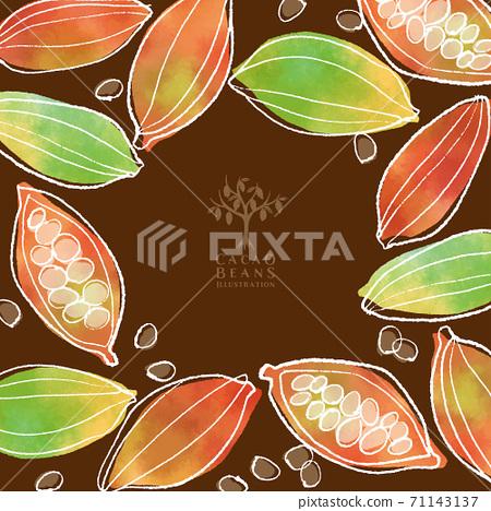 可可豆的水彩插圖/方形框架 71143137