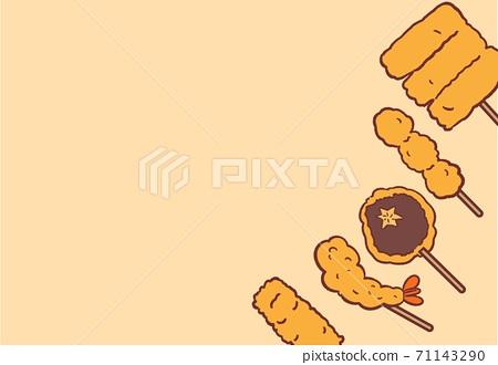 Various illustrations of deep-fried skewers Diagonal frame wallpaper / ivory 71143290