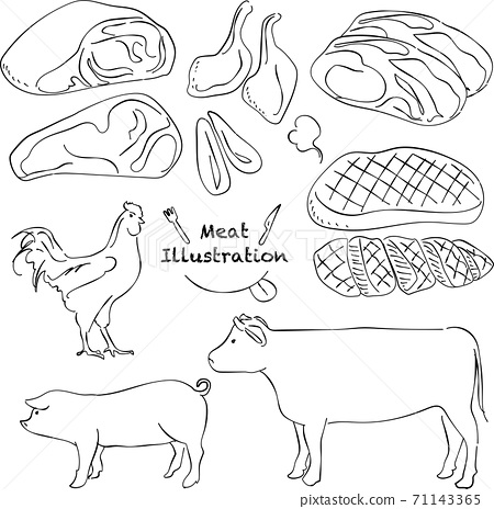 肉,雞,豬,牛肉,鋼筆劃,手寫 71143365