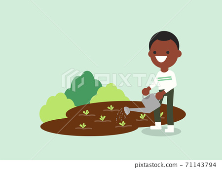 Young African American man watering plant. 71143794