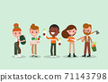 People cartoon with Gardening tools and vegetables. 71143798