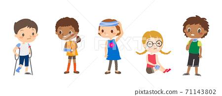 Injured children cartoon illustrations. 71143802