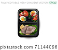 Boiled meat with egg, cheese and vegetables in a lunchbox. 71144096