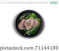 Boiled meat with beans, peas and lettuce on a black plate. 71144100