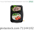 Boiled meat with rice and vegetables in a lunchbox. 71144102
