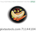 Melon, papaya, grapes and dates on a black plate. 71144104