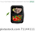 Boiled meat with vegetables and avocado in a lunchbox. 71144111