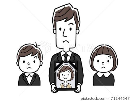 矢量插圖素材:哀悼中的男人和孩子,還有他們的妻子的遺體 71144547