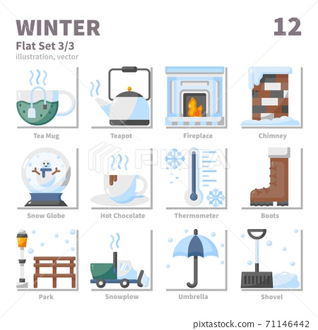 Winter icons set, Flat, vector and illustration set 3 71146442