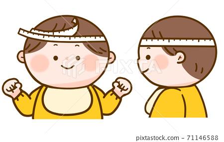 嬰兒測量頭圍正面和側面 71146588