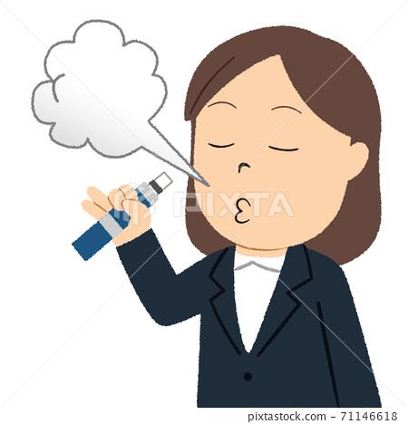 從紙包裝香煙變成加熱香煙的女人的插圖 71146618