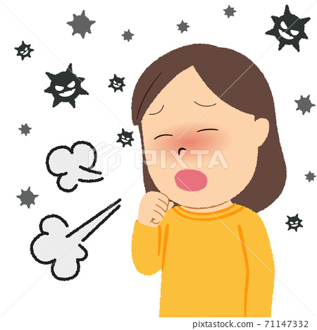 Illustration of a woman with fever and cough 71147332