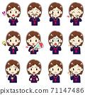 穿水手服的女孩的各種面部圖案(2) 71147486