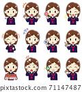 女孩穿著水手服的各種面部圖案 71147487