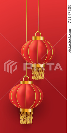Vector chinese hanging lanterns. Chinese New Year. Hanging Asian red traditional realistic 3d lantern on red background. Template for greeting cards, flyers, invitation, posters, brochure, banners 71147809