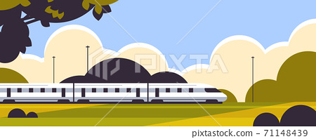 high speed train railway product goods shipping express delivery service concept 71148439