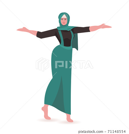 beautiful girl arab woman in dress female cartoon character standing pose full length 71148554