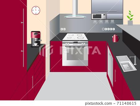 Kitchen Interior With Equipment Concept Vector Stock Illustration 71148615 Pixta