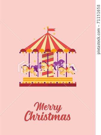 Merry Christmas greeting card Colorful carousel with horses 71151658