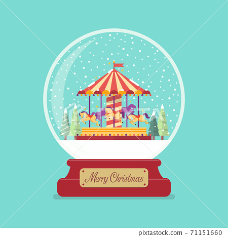 Merry christmas glass ball with church in winter season 71151660