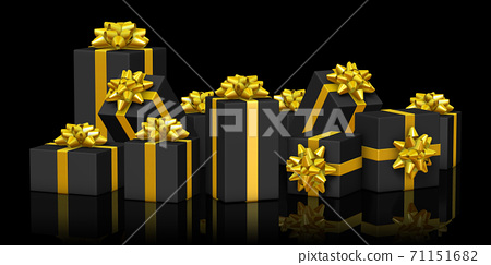 골드 리본 검은 선물 상자 71151682