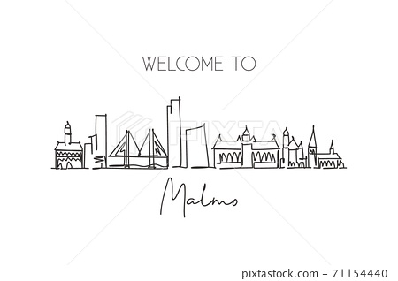 One continuous line drawing of Malmo city skyline, Sweden. Beautiful landmark postcard 71154440
