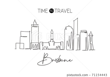 One continuous line drawing of Brisbane city skyline, Australia. Beautiful landmark 71154443