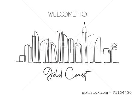 Single continuous line drawing of Gold Coast city skyline, Australia. Famous city landscape 71154450