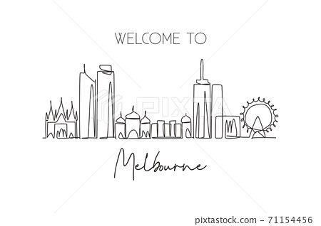 One continuous line drawing of Melbourne city skyline, Australia. Beautiful landmark 71154456