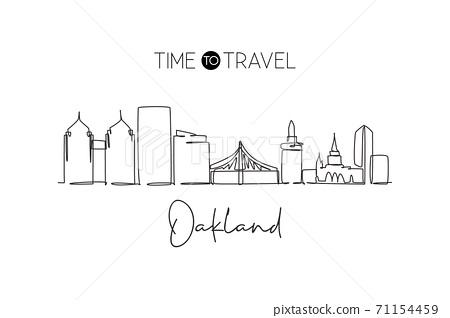 Single continuous line drawing of Oakland city skyline California. Famous city scraper landscape 71154459