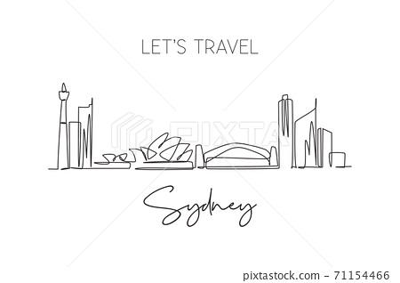 One single line drawing of Sydney city skyline, Australia. Historical town landscape 71154466