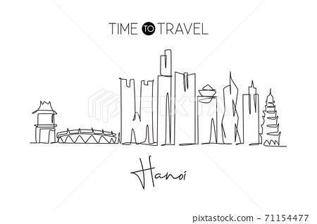 One continuous line drawing of Hanoi city skyline, Vietnam. Beautiful landmark 71154477